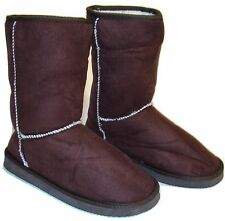 Womens Coffee Brown Faux Suede Sherpa Lined Warm Winter Boots - Pick Your Size