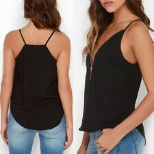 Women Summer Spaghetti Strap Camisole Zipper Casual Shirt Vest Tank Tops Black