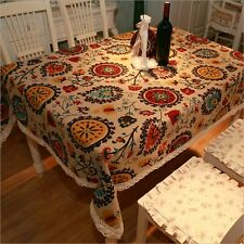 Bohemia Tablecloth Cotton Linen Square Floral Table Cover Rectangular NEW Luxury