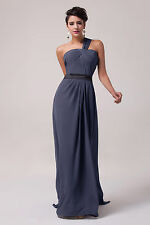 Long Dark Grey One shoulder Formal Ball Gown Evening Prom Cocktail Party Dress
