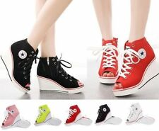 Womens High Top Lace Up Canvas Platform Wedge Heel Peep Toe Sneakers Shoes Size