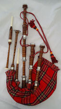 Scottish Great Highland Bagpipes Rosewood Natural Full Silver Mounts + Reed,Case