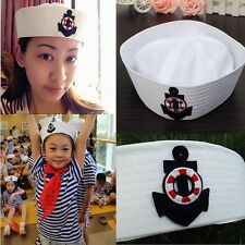 White Sailor Hat With Boat Anchor Embroidery Anchor Emblem Sailors Navy Cap