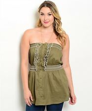 Olive Green Ivory Strapless 100% Cotton Tank Top XL 2X 3X Smocked Plus Size New