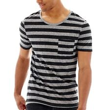 Arizona Striped Scoopneck Pocket Tee Black Nep New With Tags Size M