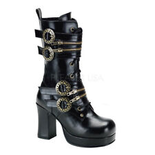 "DEMONIA BLACK PU 3 3/4"" HEEL PLATFORM STEAMPUNK GOTHIC CALF BOOT GEAR BUCKLES"