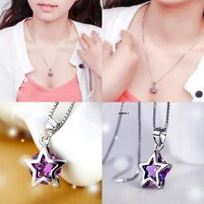 Women`s Silver Plated Crystal Star Pendant For Necklace Chain Link Jewelry Gift