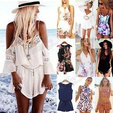 Sexy Women Summer V-Neck Print Jumpsuit Playsuit Rompers Trousers Bodysuit Pant