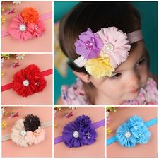 Cute Baby Kids Girls Pearl Rhinestone Flower Headband Cloth Accessories Headband
