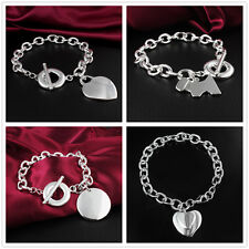One Pendant Chain Bangle Bracelet Jewelry 925 Sterling Silver Plated Party Gift