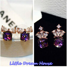 Bling Purple Crystal Zircon Ladies Girls Earrings Pierced Women Ear Stud Drop