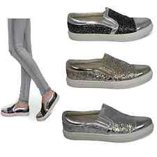 Womens Flats Ladies Glitter Trainers Shiny Pumps Chunky Sole Casual Shoes Size