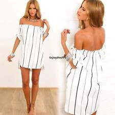 New Sexy Women Off-Shoulder Striped Mini Dress Evening Party Beach Dresses OO55