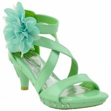 Kids Rhinestone Dress Sandals with Bow Accent Flower Strappy High Heel Green