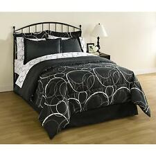 Bed in a Bag Complete Bed Comforter Set Interlocking Circles 8 pieces Black