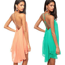 New Summer Sexy Women's Backless Party Dress Evening Cocktail Casual Mini Dress