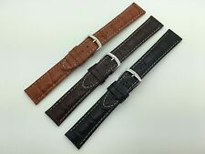 22mm Black Brown Alligator Grain Hadley Roma Genuine Leather Watch Band MS834