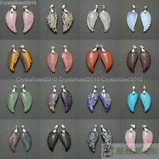 Natural Gemstone Carved Angel Wing Reiki Chakra Healing Pendant Necklaces Beads