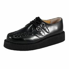 T.U.K. TUK A8520 Shoes Mondo Pointed Creeper Black Real Leather Monk Lace UP