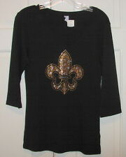 V-Neck 3/4 Black Top W/ Gold Rhinestone/Studs Fleur de Lis Size Md Saints Fan