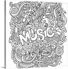 Music Coloring Canvas Wall Art Print entitled Music - Colorable