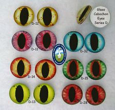 1 PAIR 10mm to 14mm Glass Cabochon Eyes Dragons, Cats, Jewelry, Sculpture, CAB-1
