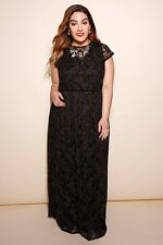 Plus Black & Gold Maxi Dress With Floral Lace Overlay 14-32