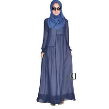 UK ladies womens muslim new cotton knitted long dress gown robe custom made size