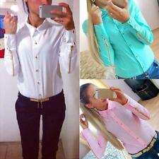 Ladies Chic Blouse Chiffon Shirt Long Sleeve Button Down Casual Tops Blouse Size