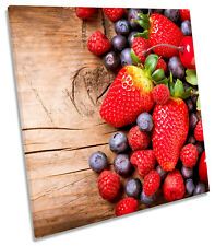Strawberry Fruit Kitchen SQUARE CANVAS WALL ART Framed Print