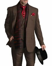 Steven Land Mens Brown Plaid Single Button Three Piece Suit With Peak Lapels