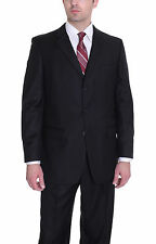 Renoir Solid Black Three Button Suit With Pleated Pants