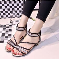 Summer Retro Women Diamond Midi Wedge Open-toed Sandals Flats Flip Flops Shoes