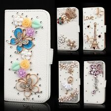 Luxury Leather Case Bling Rhinestone Flip Card Wallet For iPhone/Samsung Galaxy