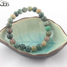 8mm Natural Gemstone Round Indian Agate Onyx Stretchy Bracelet 7-8.5inch