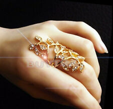 Hot Fashion Women's Plated Crystal  Leaf Above Knuckle Finger Ring Set FOUS