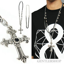 Mens Fashion Silver Tone Floury Cross Beads Double Chain Necklace Set 43,GENTLER