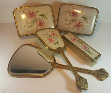 VINTAGE PETIT POINT EMBROIDERED DRESSING TABLE SET - BRUSHES BOXES MIRROR