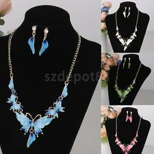 Women Fashion Jewelry Set Alloy Metal Enamel Butterfly Pendant Necklace Earrings