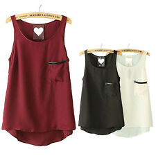 3Color Women Summer Pocket Chiffon Sleeveless Tank Vest Shirt Tops Blouse XS-XXL