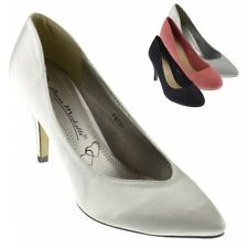 New Womens Ladies mid high heel wedding bridal party prom stiletto court shoes