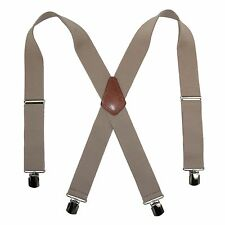 New CTM Mens Terry Casual Elastic with Anti Slip Pin Clip 2 Inch Suspenders