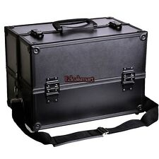 Aluminum Black Makeup Cosmetic Train Case Storage Organizer Box Lockable w/Strap