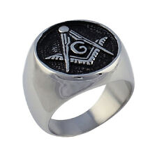 Men Titanium Stainless Steel Freemason Ring Masonic Lodge Ring Cool Jewelry