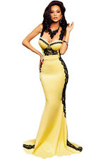 Yellow and Black Lace Sponges Bust Maxi Mermaid Dress ladies long evening gown