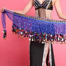 Sexy Women Chiffon Belly Dance Scarf Ruffled Sequin Belt Skirt Tassel Hip Wrap
