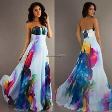 Women Backless Strapless Boho Floral Long Maxi Evening Party Prom Formal Dress