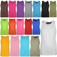 Kids Girls Ribbed Stylish Vest Top 100% Cotton Fashion T Shirt New Age 5-13 Year