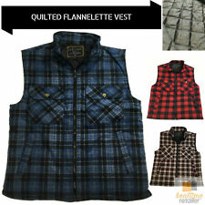 Mens QUILTED FLANNELETTE VEST 100% COTTON Flannel Padded Sleeveless Shirt Jacket