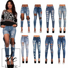 Women Ladies Sexy Stretch Faded Ripped  Skinny Fit Denim Jeans Size 6 8 10 12 14